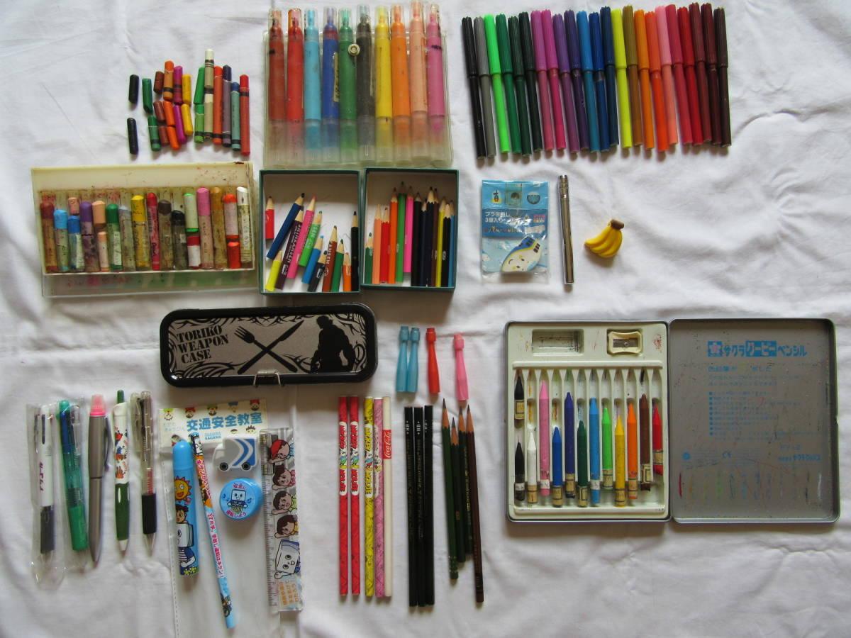 文房具セット 中古 クレヨン 鉛筆 色鉛筆 カラーマジック 缶ペン 等 トリコ ミッキーマウス