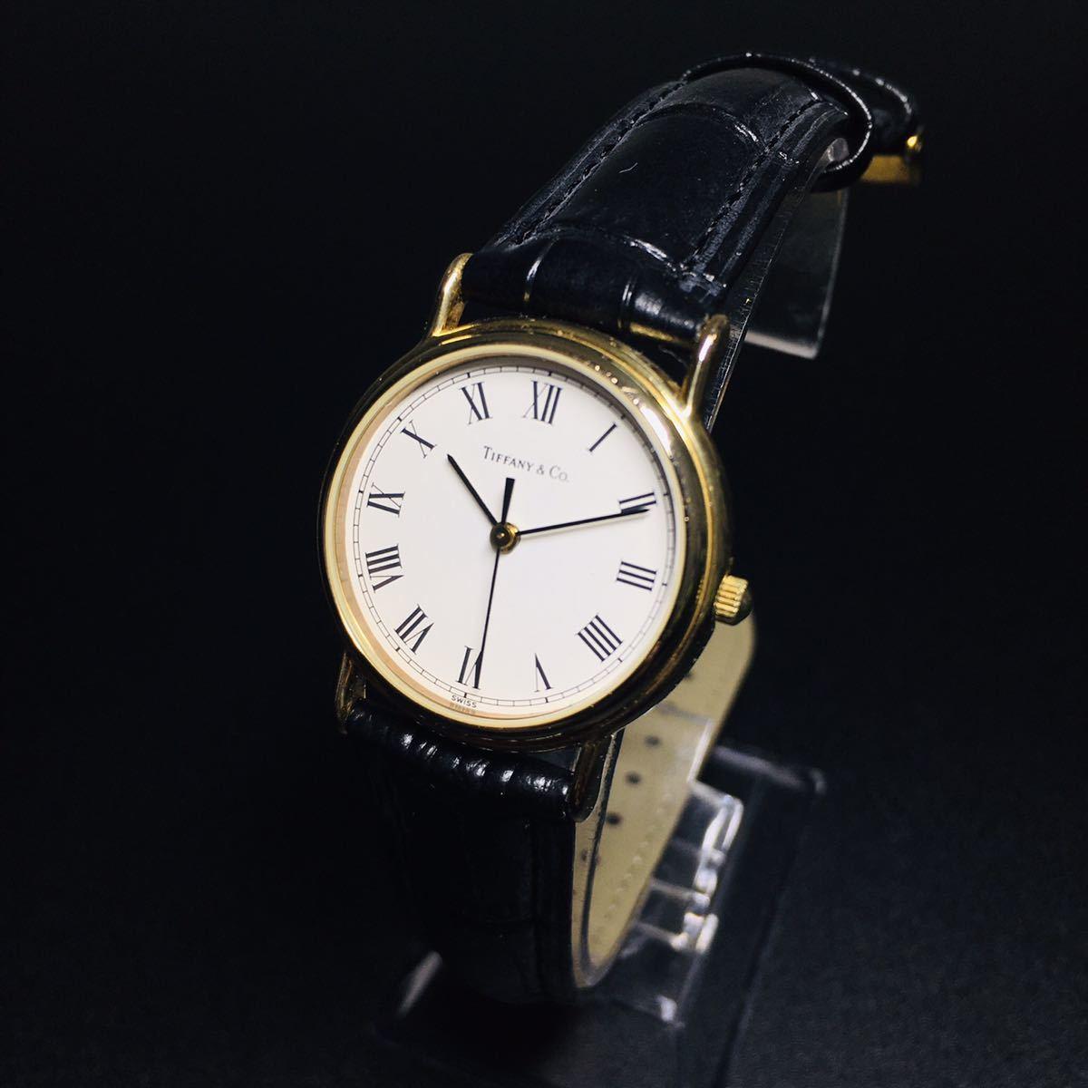 【美品 正規品】ティファニー 腕時計 ローマンインデックス ゴールド クラシック ラウンド レディース 【2005Ti36】_画像1