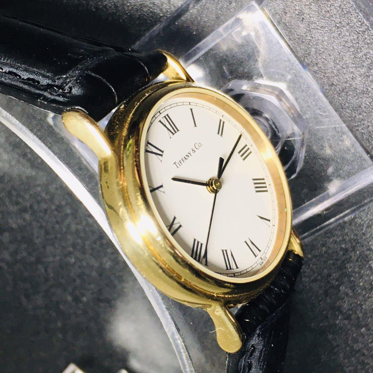 【美品 正規品】ティファニー 腕時計 ローマンインデックス ゴールド クラシック ラウンド レディース 【2005Ti36】_画像7