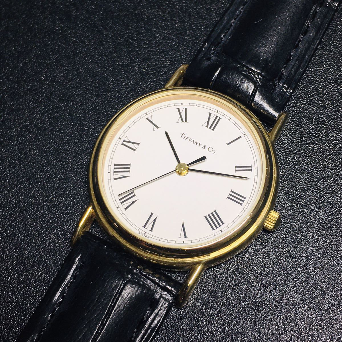 【美品 正規品】ティファニー 腕時計 ローマンインデックス ゴールド クラシック ラウンド レディース 【2005Ti36】_画像4