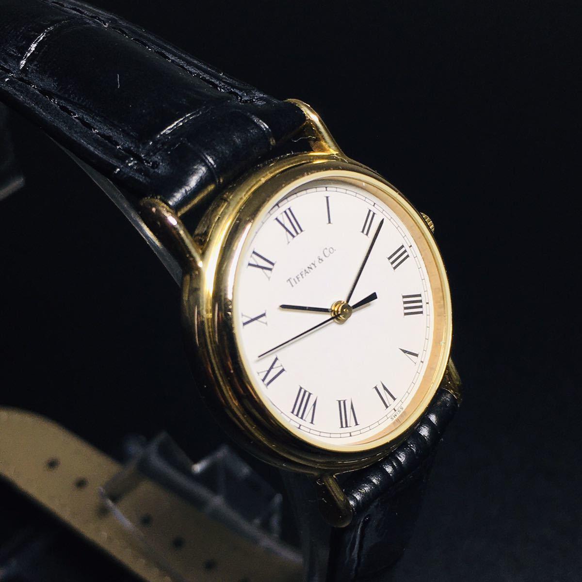 【美品 正規品】ティファニー 腕時計 ローマンインデックス ゴールド クラシック ラウンド レディース 【2005Ti36】_画像3