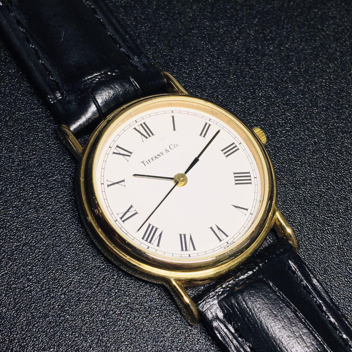 【美品 正規品】ティファニー 腕時計 ローマンインデックス ゴールド クラシック ラウンド レディース 【2005Ti36】_画像5