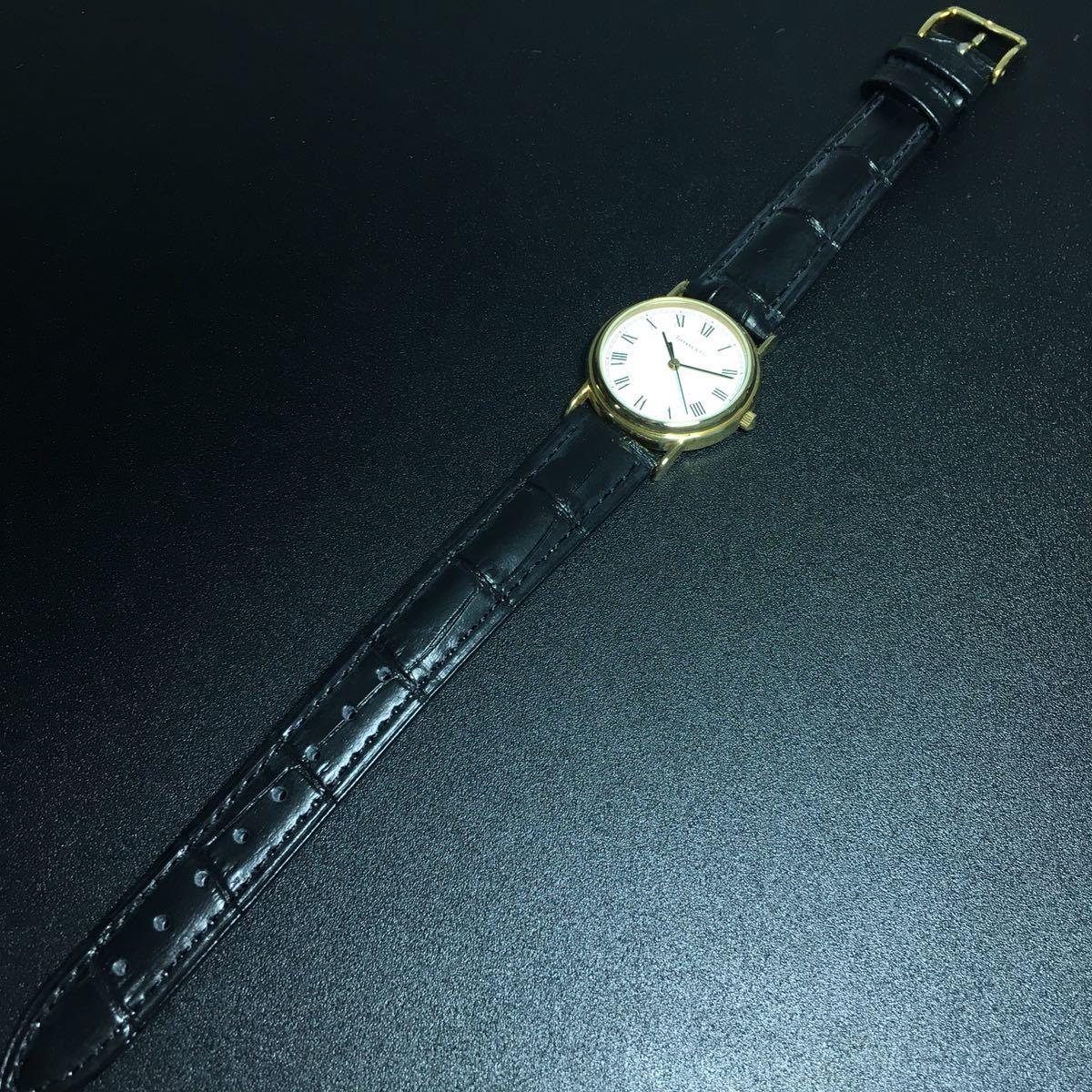 【美品 正規品】ティファニー 腕時計 ローマンインデックス ゴールド クラシック ラウンド レディース 【2005Ti36】_画像9