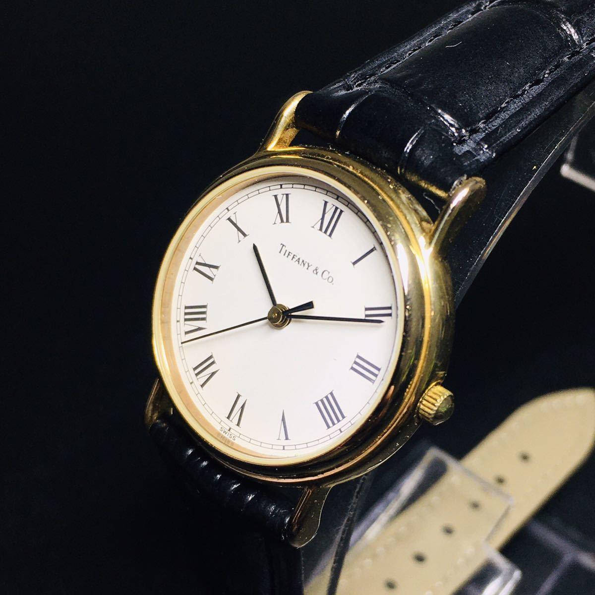 【美品 正規品】ティファニー 腕時計 ローマンインデックス ゴールド クラシック ラウンド レディース 【2005Ti36】_画像2