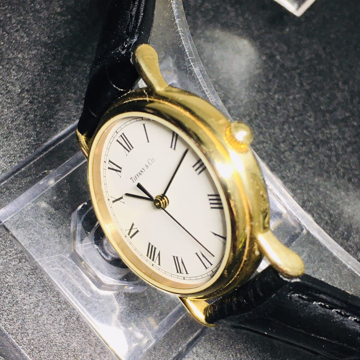 【美品 正規品】ティファニー 腕時計 ローマンインデックス ゴールド クラシック ラウンド レディース 【2005Ti36】_画像6