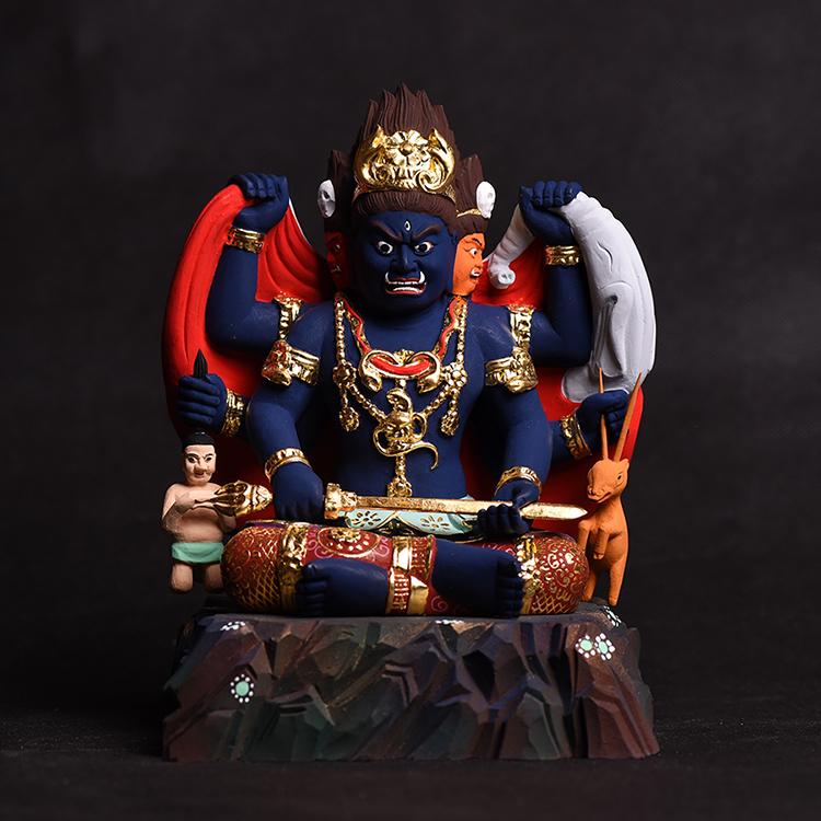 極上質 貴重品 仏教美術 椴木精密細工 三面大黒天像 24K金箔 大師彫刻 高さ18.5m 厚12.7cm 幅14cm