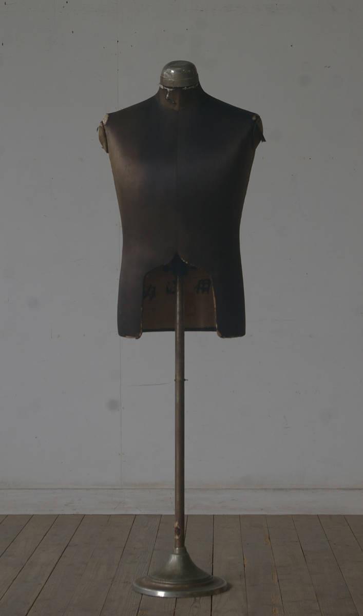 【古手◆紳士用トルソー】アンティーク店舗什器ギャラリーオブジェハンガーラック鉄脚古着アトリエブロカント大正ケビント裁縫作業台_画像1