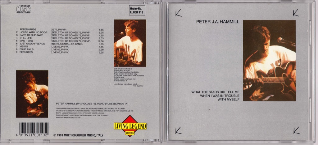 Peter J.A. Hammill (=Peter Hammill=Van Der Graaf Generator) What The Stars Did Tell Me When I Was In Trouble With Myself CD