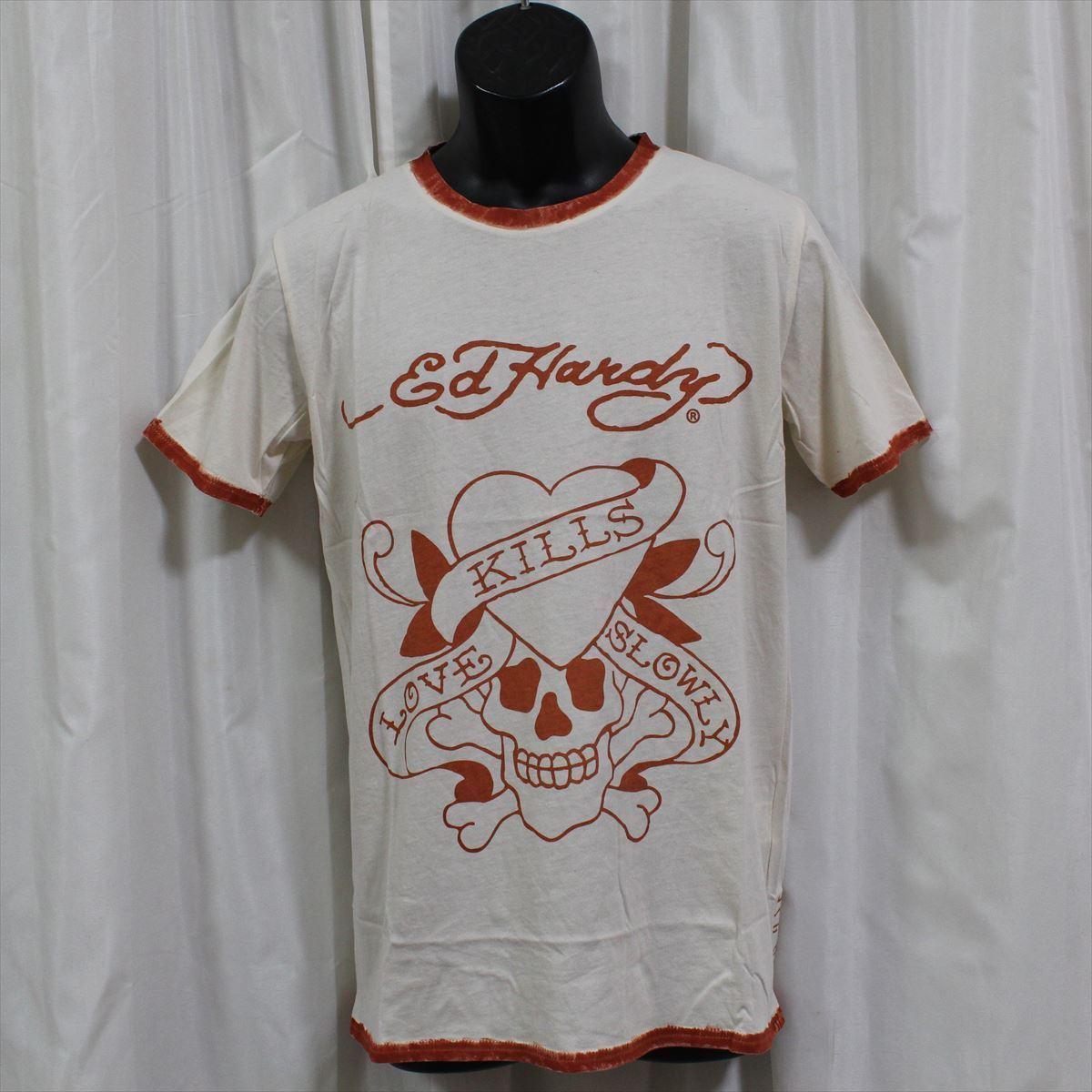 エドハーディー ED HARDY メンズ半袖Tシャツ Sサイズ M02SPR052 LOVE KILLS SLOWLY 新品 オレンジ_画像1