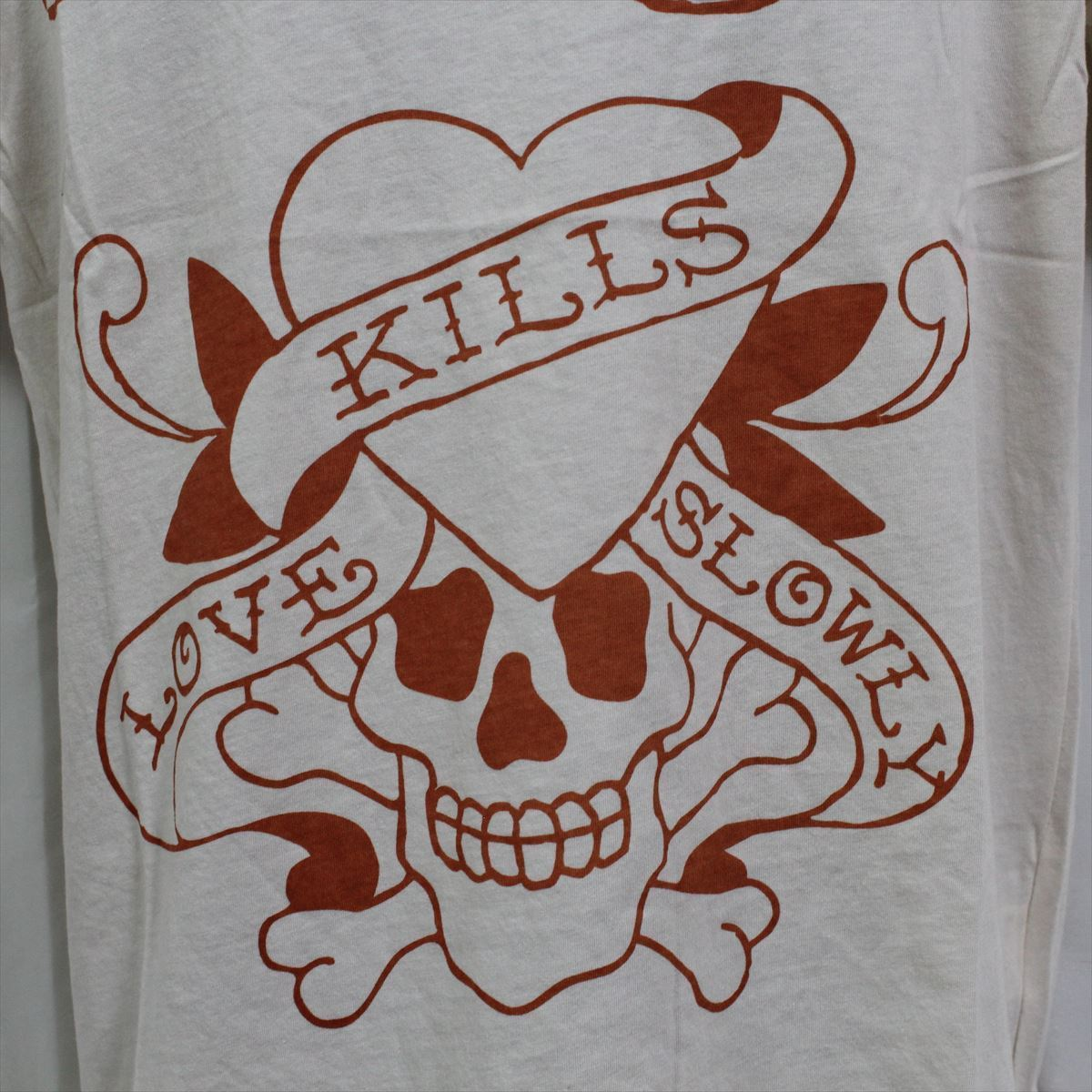 エドハーディー ED HARDY メンズ半袖Tシャツ Sサイズ M02SPR052 LOVE KILLS SLOWLY 新品 オレンジ_画像2