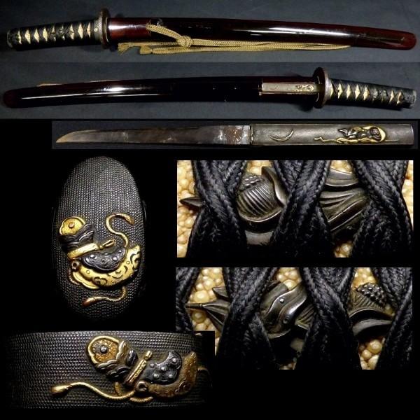 後藤系統の縁頭と目貫 上質な金工金具付 拵え 全長約67cm 鍔:「国廣」在銘 小柄・小刀付 金被せ切羽 k292