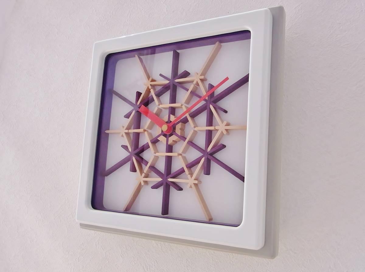 TOKYO CLOCK ハンドメイド【積石亀甲 白×紫色】組子掛時計(角型)_画像2