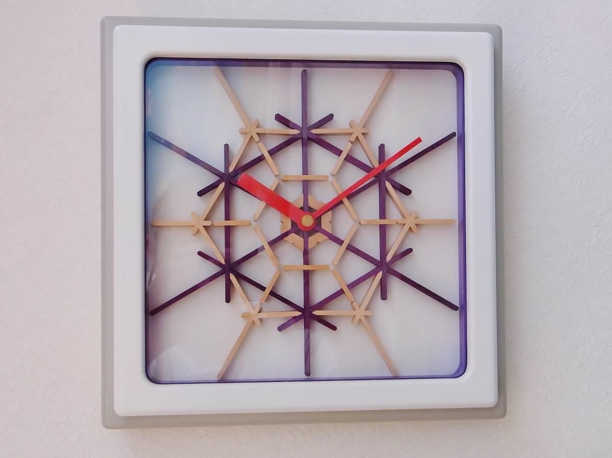 TOKYO CLOCK ハンドメイド【積石亀甲 白×紫色】組子掛時計(角型)_画像1