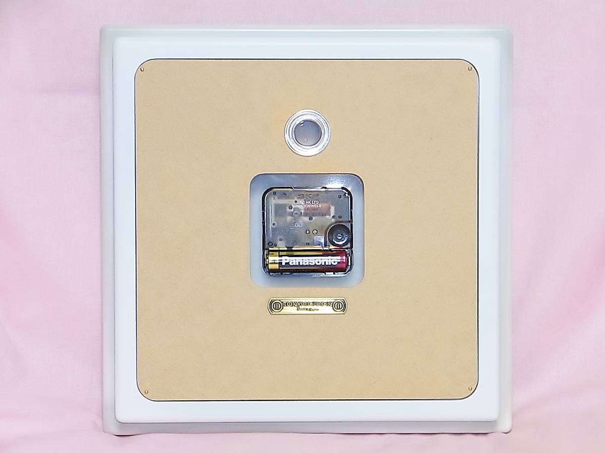 TOKYO CLOCK ハンドメイド【積石亀甲 白×紫色】組子掛時計(角型)_画像4