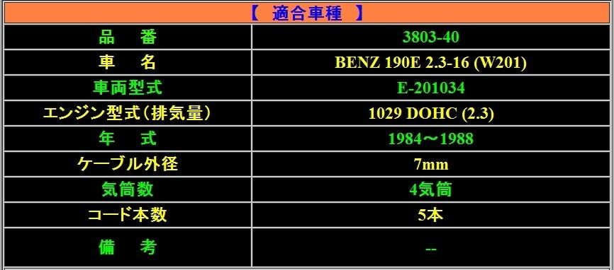 【ULTRA/ウルトラ】★ブルーポイント パワープラグコード★BENZ(ベンツ)190E 2.3-16/W201 E-201034/1029 DOHC (2.3) 1984~1988_画像2