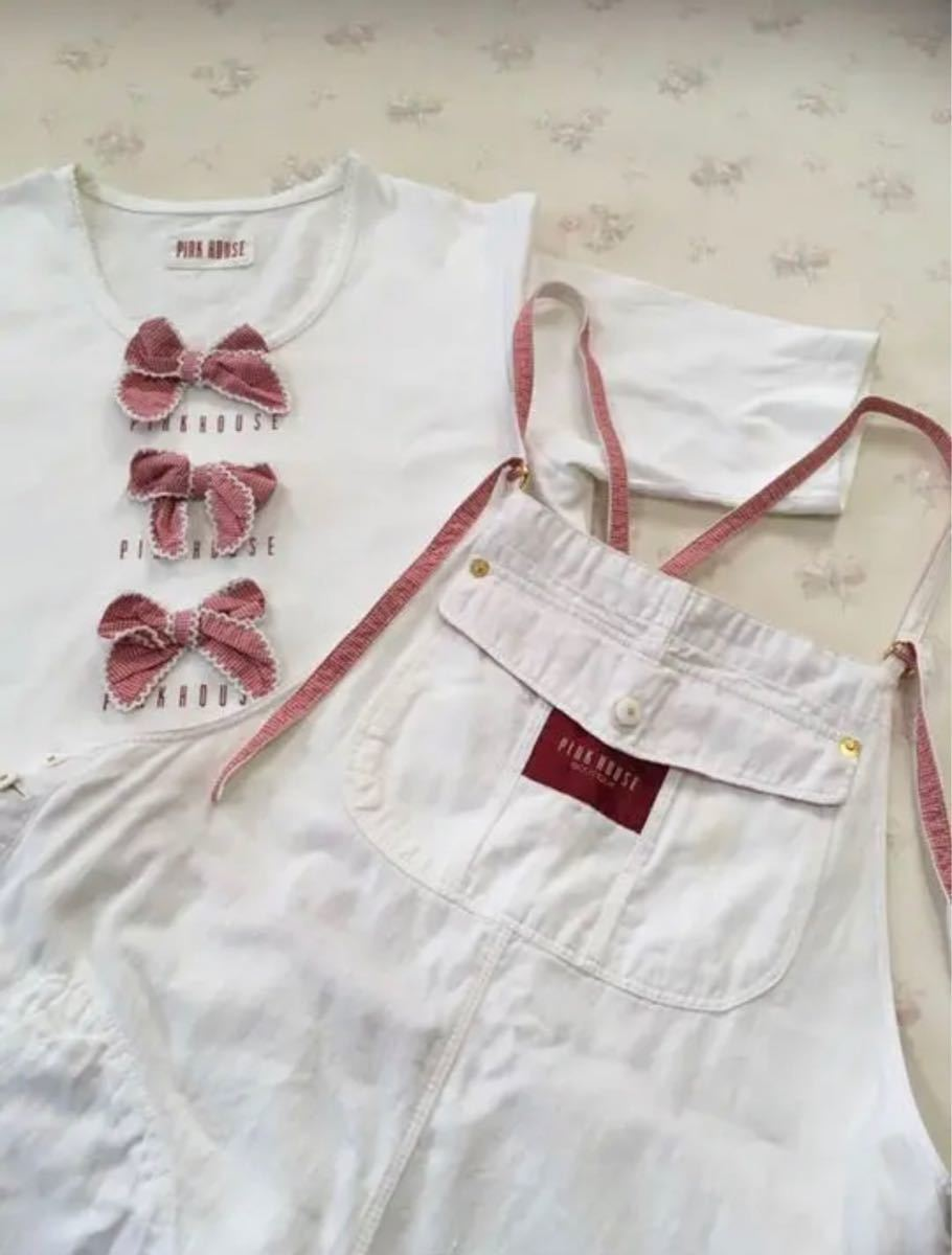 ピンクハウス ロゴ入り・ギンガムチェックのリボン付き・白Tシャツのみ