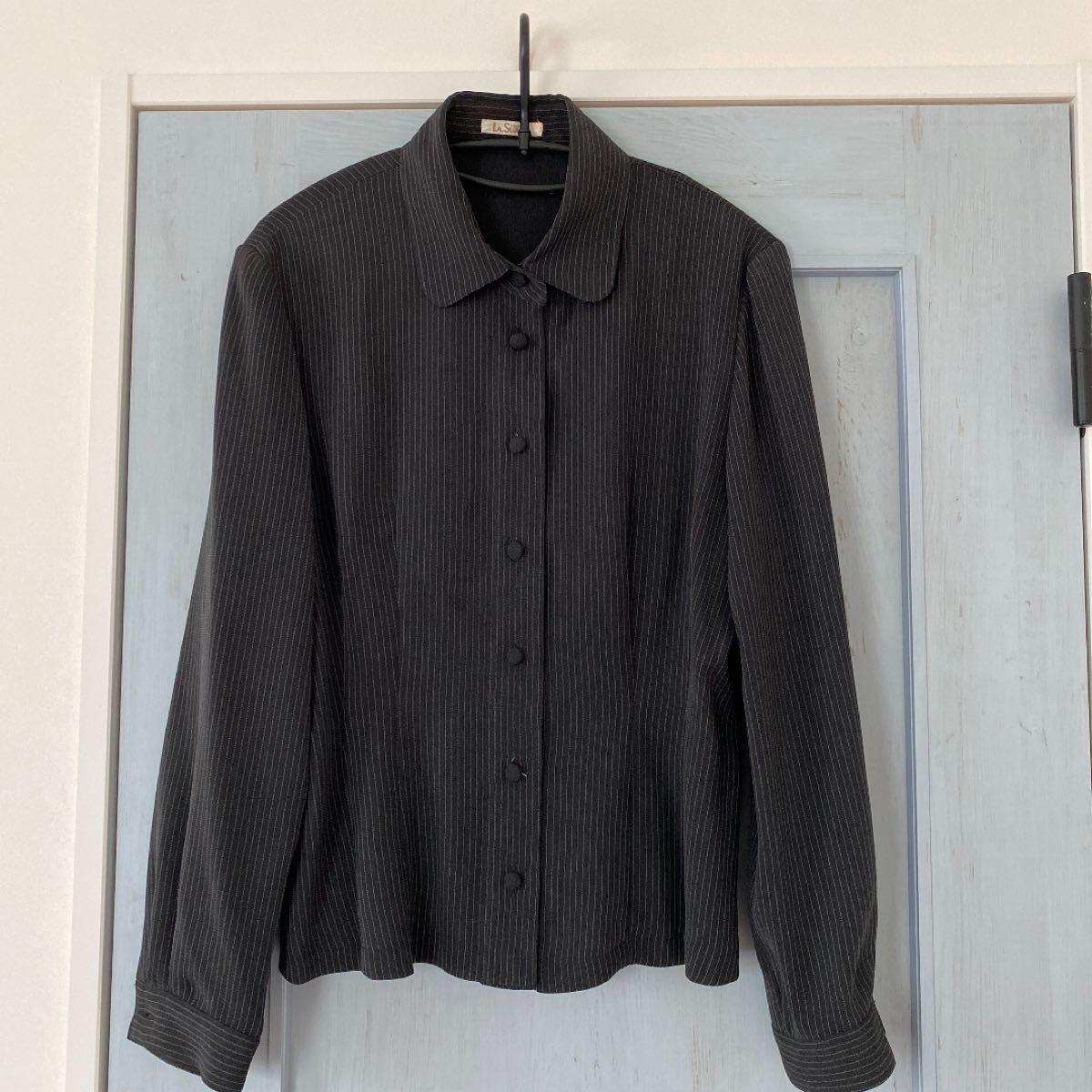 シャツ ストライプ ブラック 長袖シャツ