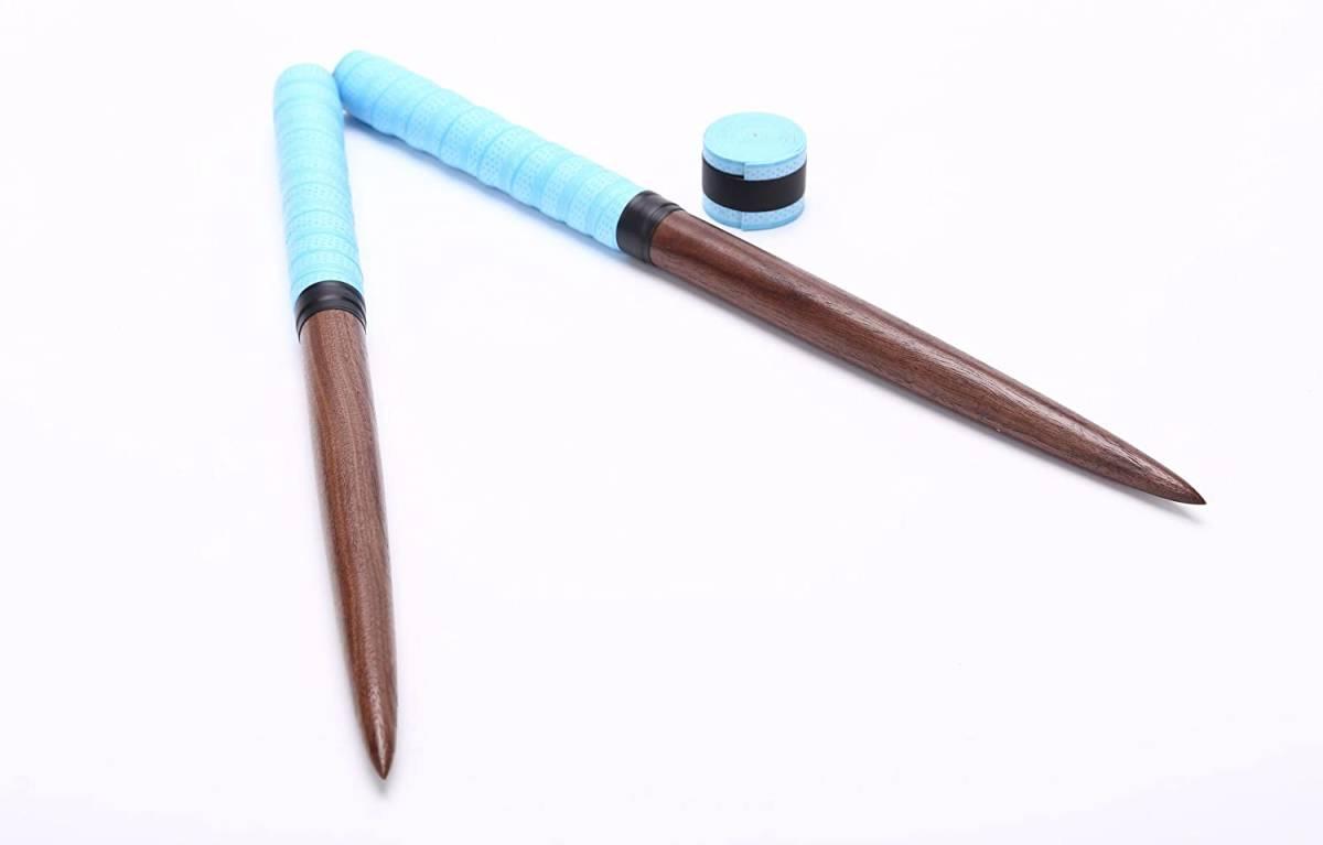 逆鱗 太鼓の達人 マイバチ 黒胡桃(ウォールナット)超硬材 35cm 反発力 予備グリップ付き 2重巻き 魔改造にも 空を超えた水色