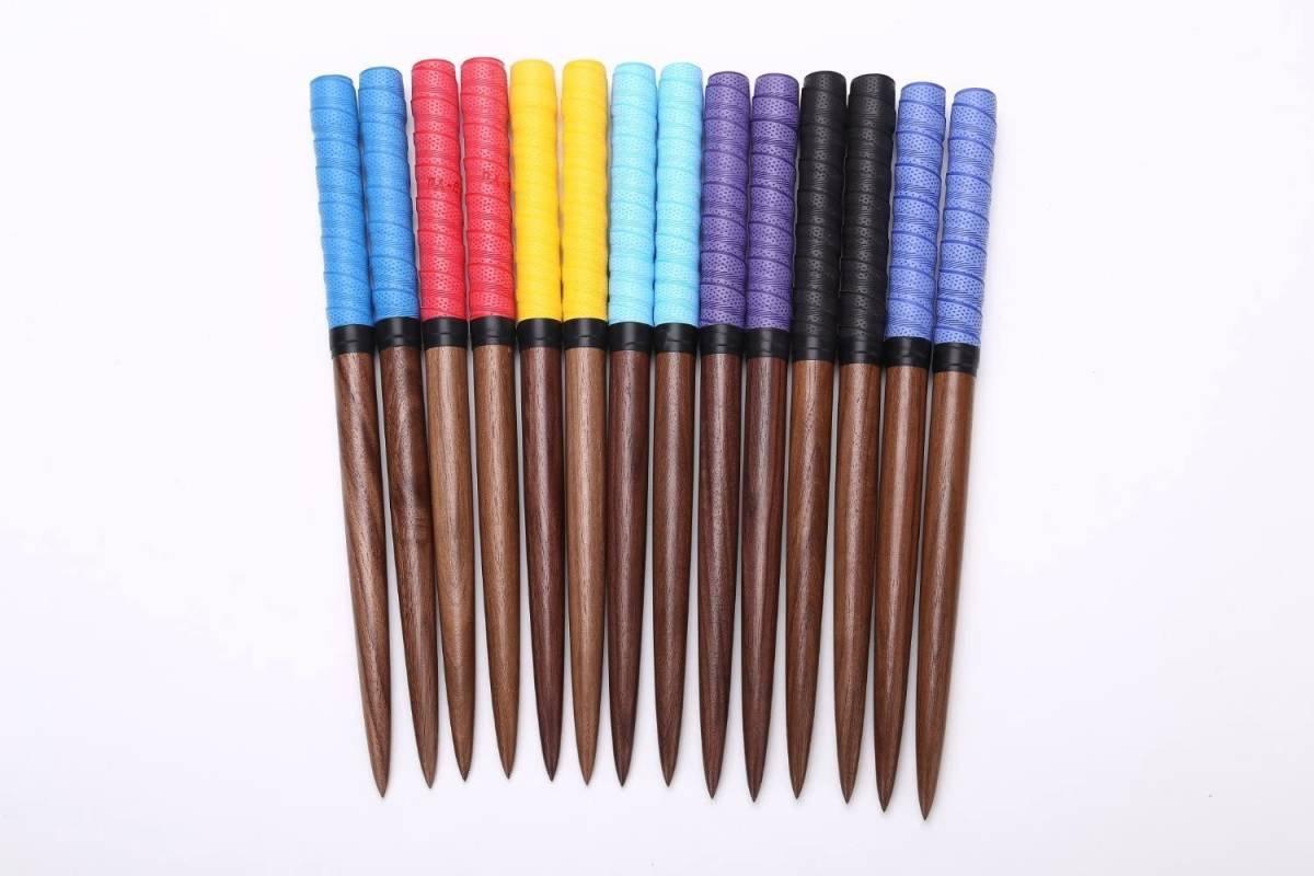 逆鱗 太鼓の達人 マイバチ 黒胡桃(ウォールナット)超硬材 35cm 反発力 予備グリップ付き 2重巻き 魔改造にも 藍色