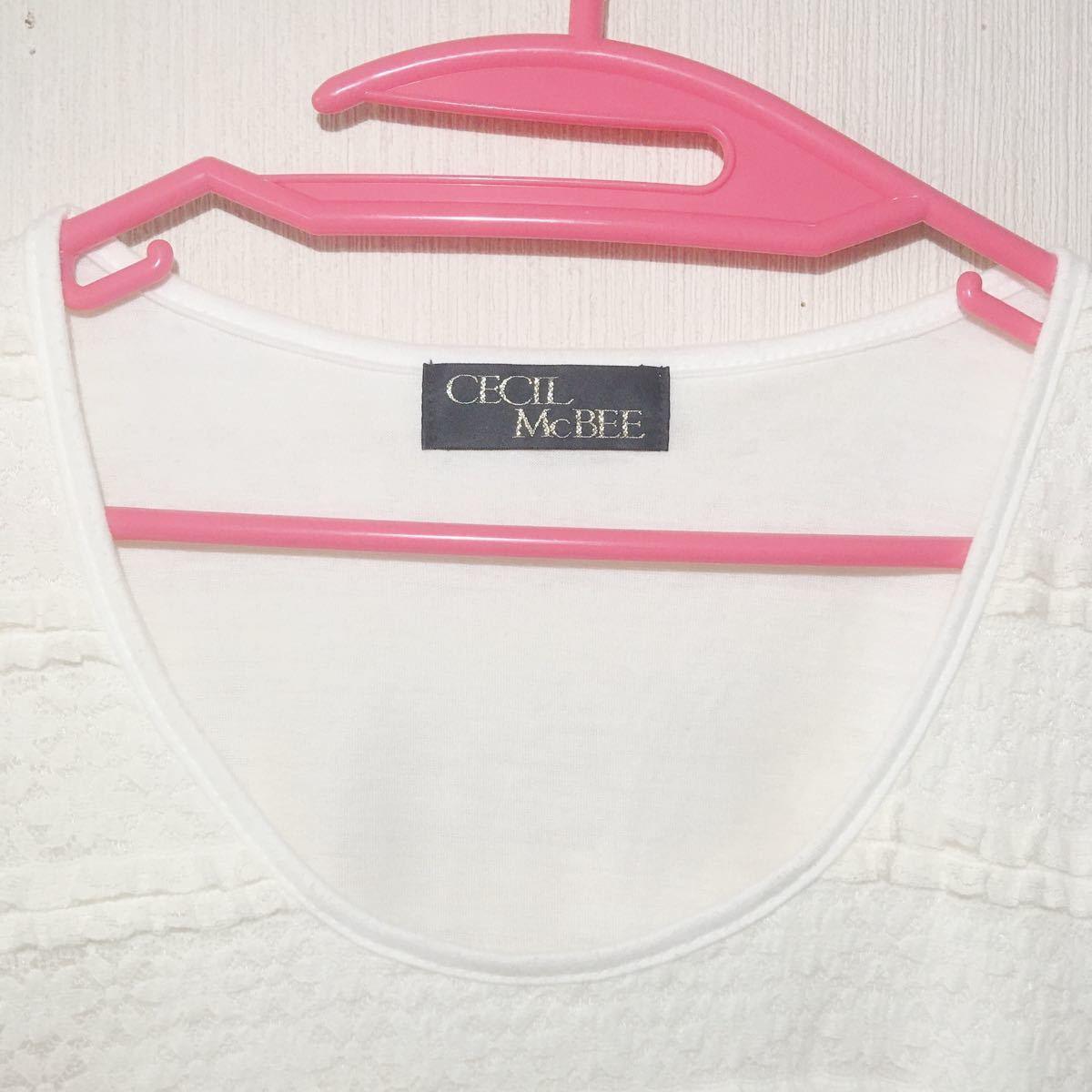 セシルマクビー 白チュニック レース トップス 半袖 カットソー 半袖Tシャツ