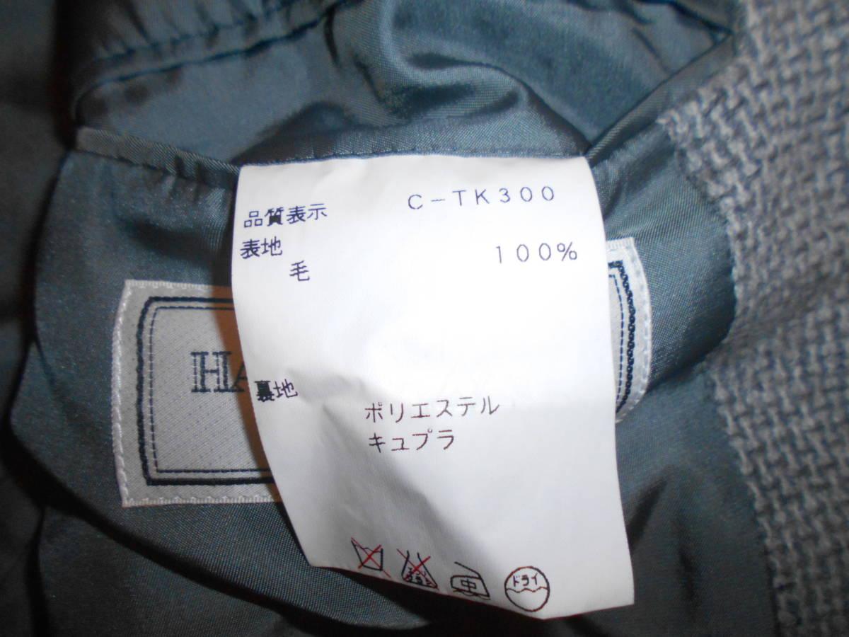 157◆HARDY AMIES 2Bシングルテーラードジャケット◆ハーディエイミス 94AB4 総裏 日本製 COLOMBOイタリア製生地 ウール100% ニット 2E_画像8