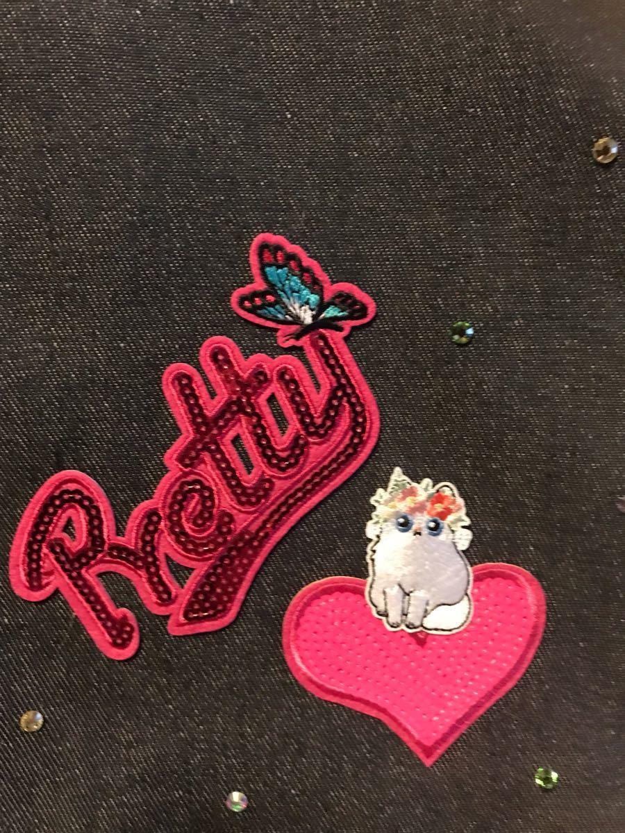 猫 スワロフスキー デニム 蝶 トートバッグ ハンドメイド バッグチャーム