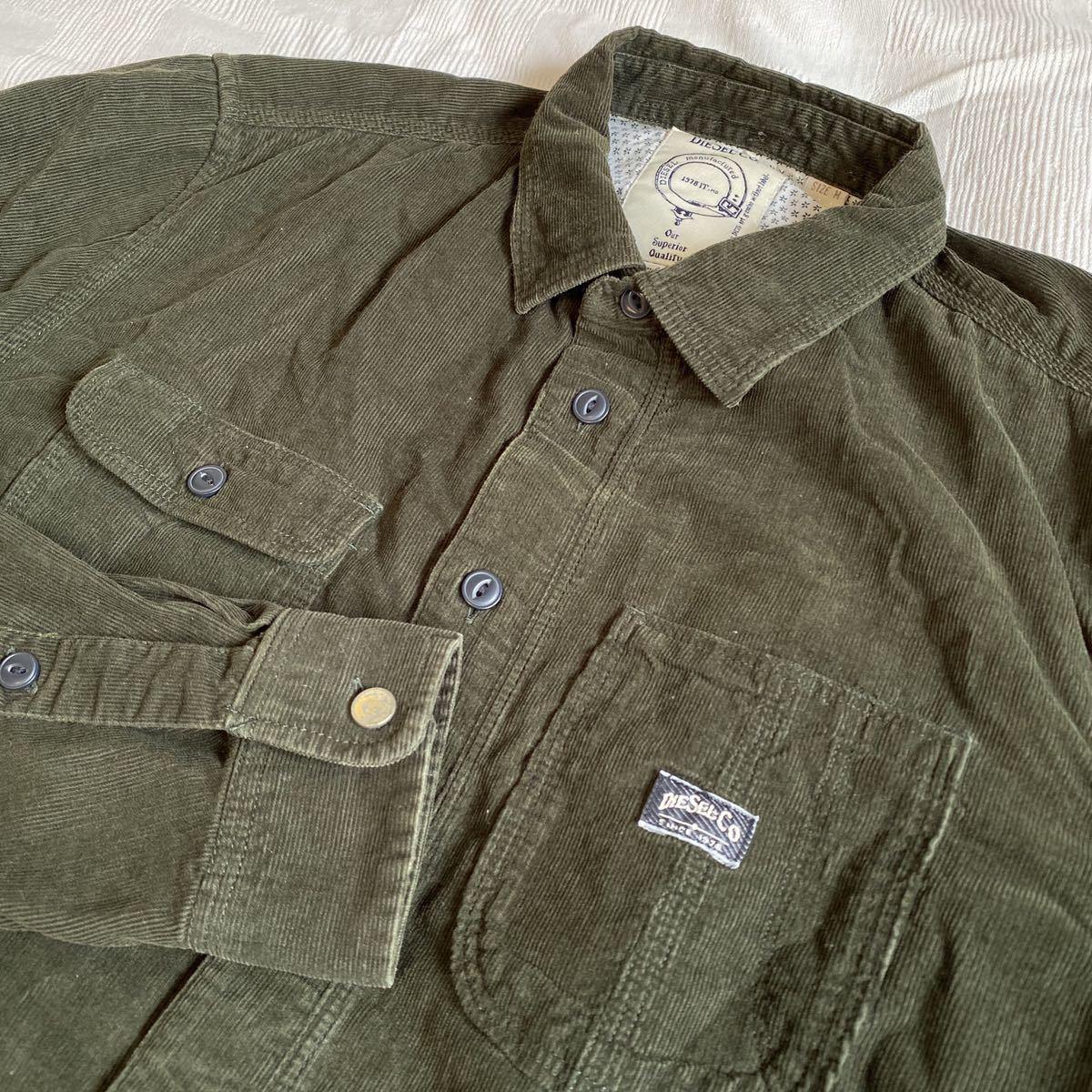 DIESEL ディーゼル◆ダークグリーン コーデュロイ 長袖シャツ サイズM ワークシャツ y20062101