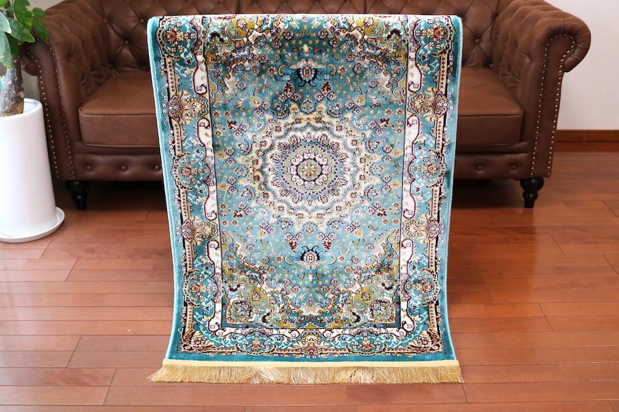 玄関マット ペルシャ柄絨毯 78×137 新品未使用 ティファニーブルー ラグ カーペット ラ