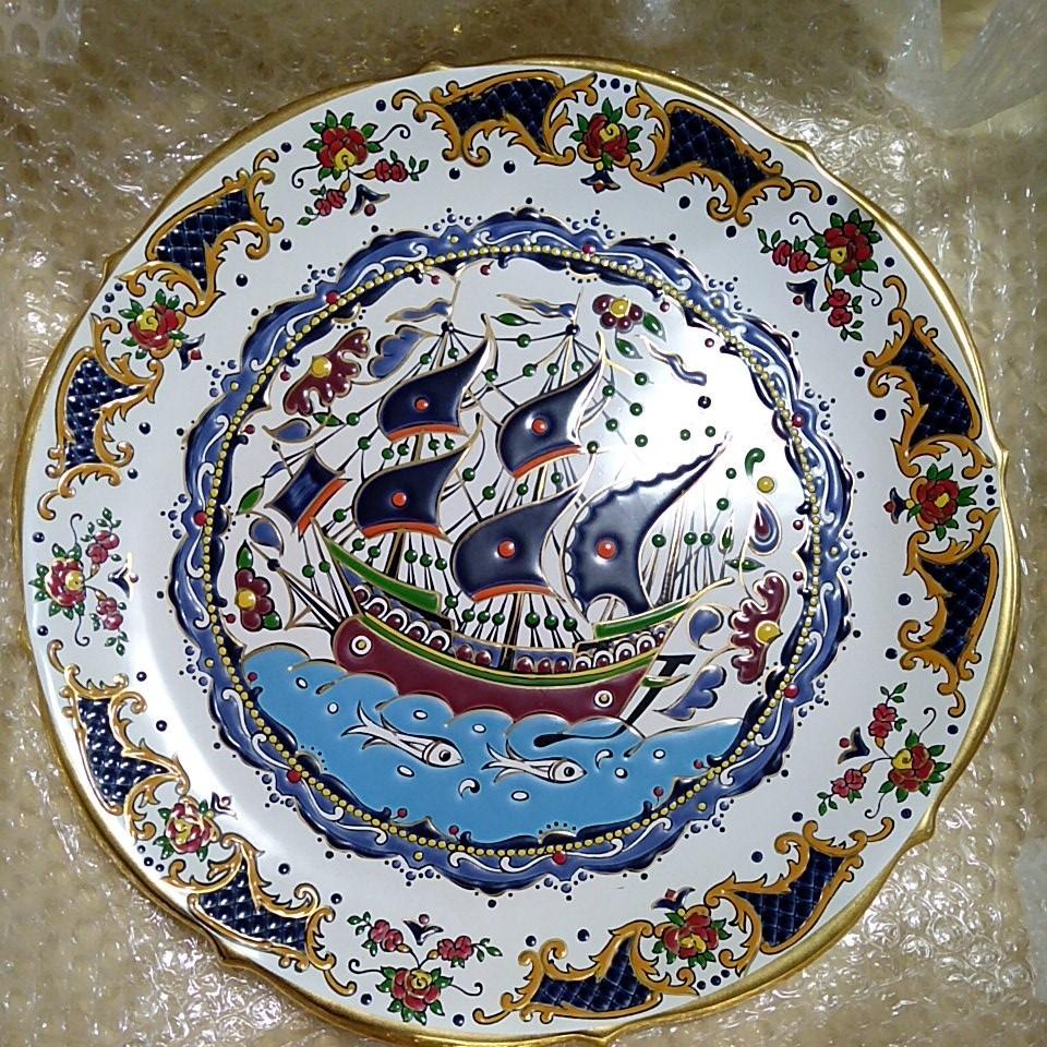 飾り皿 絵皿 西洋陶器 大皿32CM 船