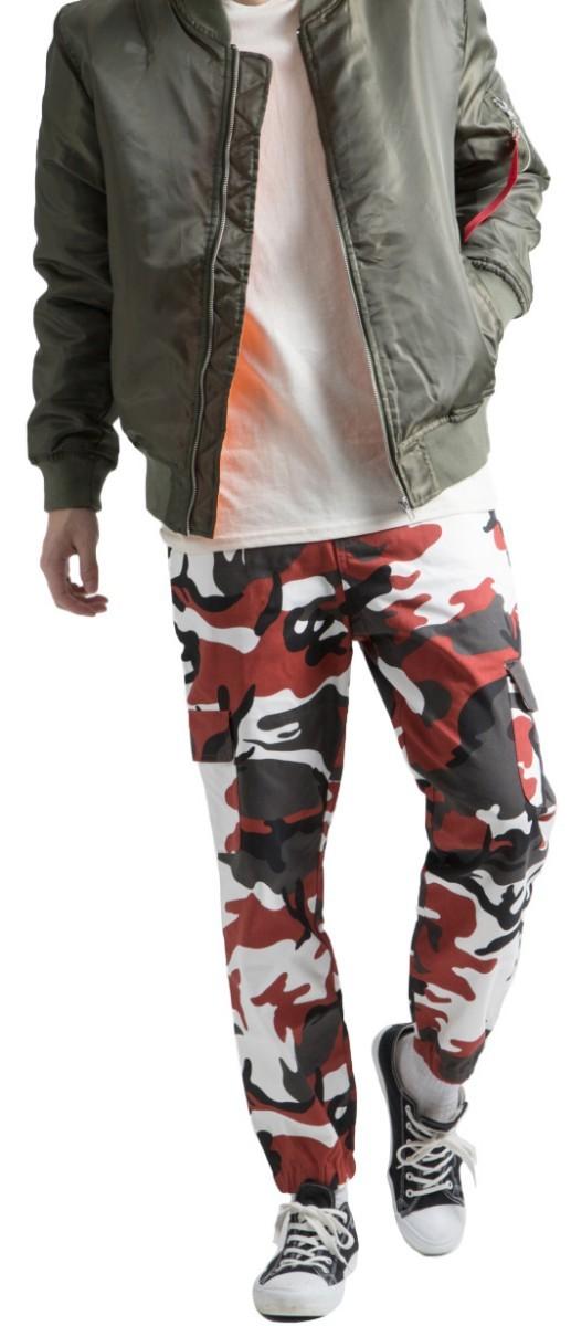 迷彩 ジョガーパンツ メンズ 赤 ミリタリー柄