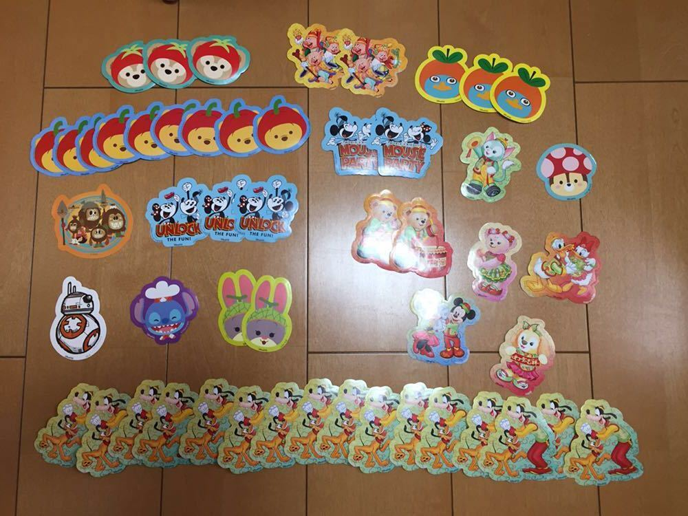 香港ディズニーランド 非売品フレークシール キャラクター色々 全部で51枚 未使用