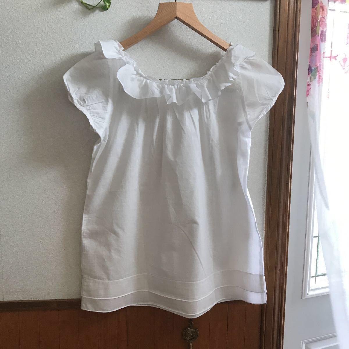 フリルブラウス 半袖シャツ 白シャツ  トップス