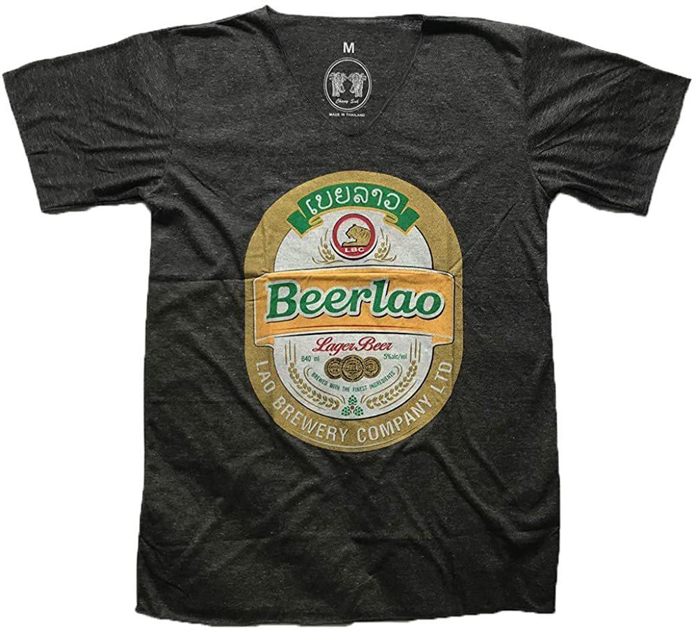 ★チャコールグレー XLサイズ★男女兼用 ビアラオ ラオス ビール ゴールド ラメ プリント エスニック 半袖 Tシャツ po218