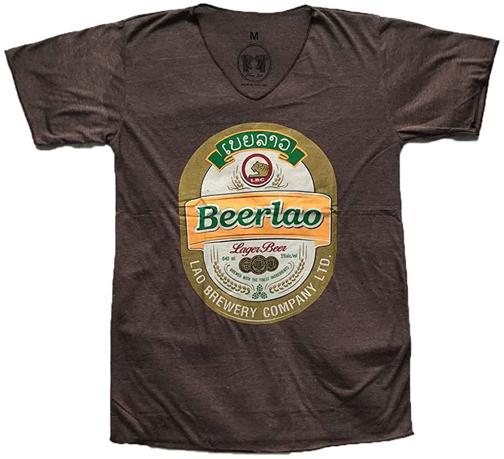 ★ブラウン XLサイズ★男女兼用 ビアラオ ラオス ビール ゴールド ラメ プリント エスニック 半袖 Tシャツ po218