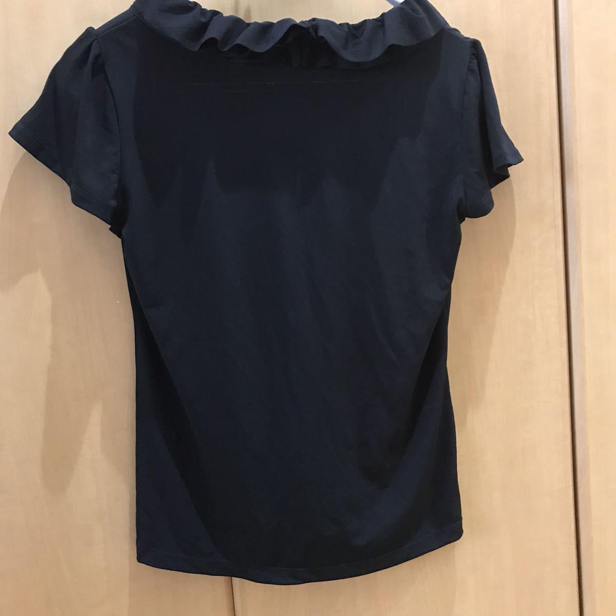 【新品タグ付】素敵なフリル 半袖ブラウス トップス Lサイズ 半袖 黒 ブラック 半袖カットソー