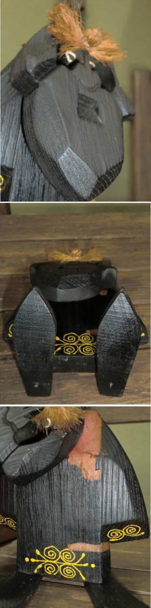アイヌ 木彫りの置物 西山忠男作 コロボックル 一点もの 高さ約15cm_画像5