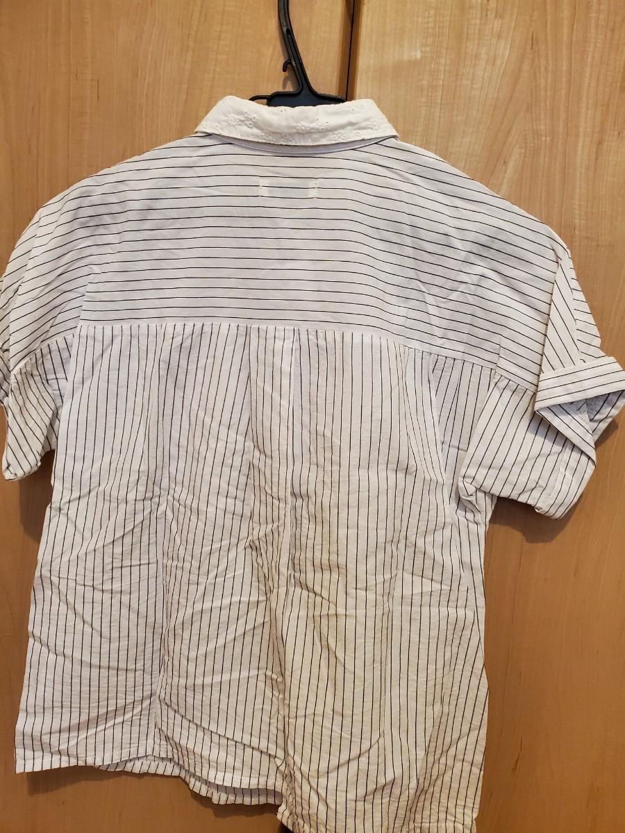 半袖シャツ ストライプシャツ