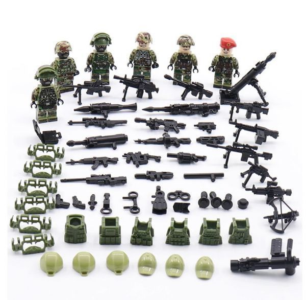 LEGO レゴ ブロック 互換 ARMY WW2 ロシア軍特殊部隊 アンチテロ部隊 カスタム ミニフィグ 6体セット 大量武器・装備・兵器付き_画像7