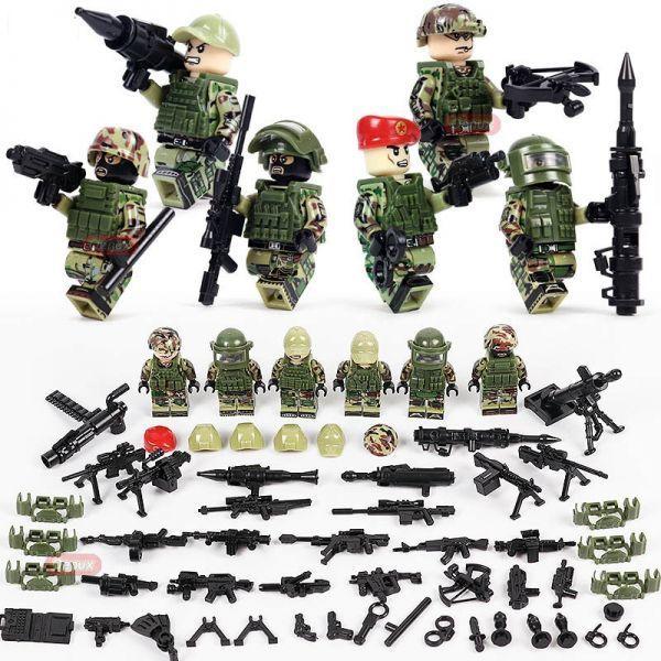 LEGO レゴ ブロック 互換 ARMY WW2 ロシア軍特殊部隊 アンチテロ部隊 カスタム ミニフィグ 6体セット 大量武器・装備・兵器付き_画像1