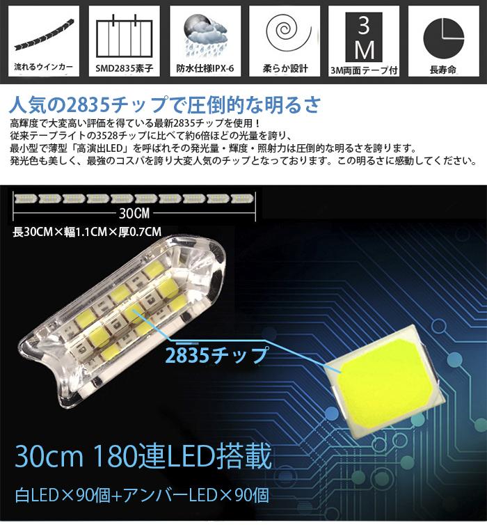 強力発光/やわらか設計★流れる LED ウインカー/デイライト/シーケンシャル 30CM LEDテープアイライン 正面発光 ホワイト/アンバー 2本セッ_画像2