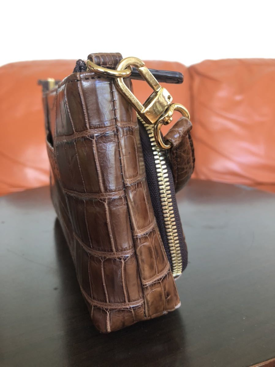 高級 美品 マット クロコダイル 2wayショルダー ウォレット ハンドバッグ クラッチバッグ ショルダーバッグ リアルクロコ ウォレット