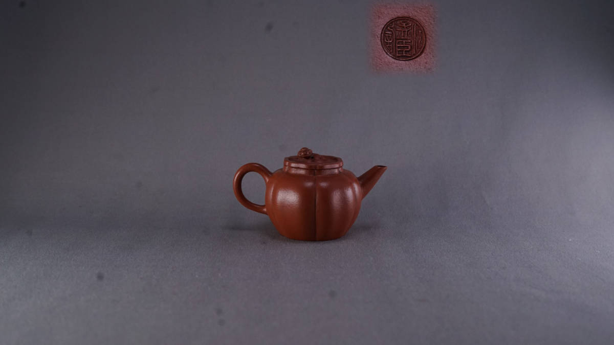 唐物 朱泥 獸鈕 急須 在銘 孟臣 煎茶道具 中國古美術 古玩 中國アンティーク サイズ:9.3*5.4cm