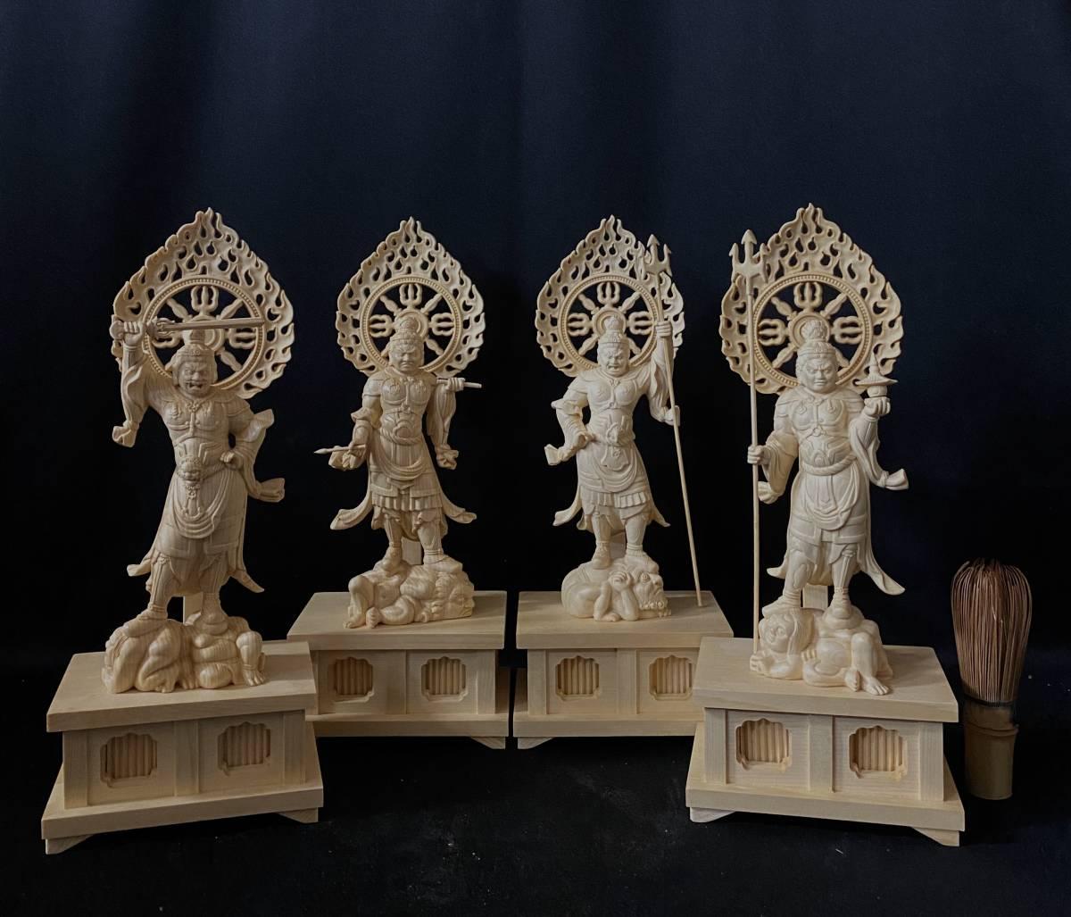 最高級 仏教工芸品 総檜材 井波彫刻 精密彫刻 極上品 木彫仏教 仏師で仕上げ品 四天王立像一式