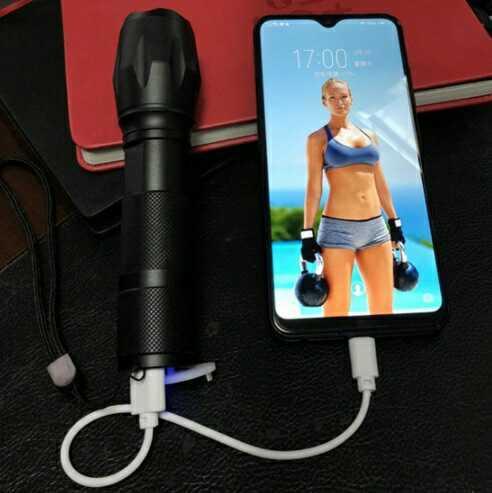 USBケーブル付き 懐中電灯 led 強力USB充電式 防水 緊急 携帯電話充電