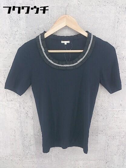 ◇ TO BE CHIC トゥービーシック 五分袖 ニット セーター サイズⅡ ネイビー レディース_画像1