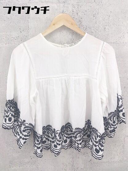 ◇ zara basic ザラ ベーシック 刺繍 七分袖 ブラウス サイズEUR M USA M MEX 28 オフホワイト系 レディース_画像1