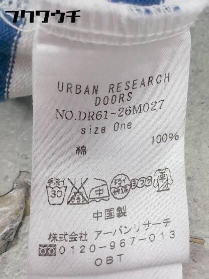 ◇ URBAN RESEARCH DOORS アーバンリサーチ ドアーズ ボーダー 半袖 膝丈 ワンピース ONE ブルー オフホワイト * 1002797381590_画像4