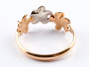 ハワイアンジュエリー ハワイアン ダイヤモンド リング 指輪 ピンクゴールドk18 18k コンビ 花 ハワイアンリング 18金 pt900 k18 pg ダイヤ_画像3
