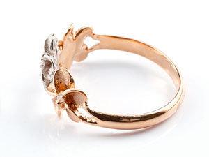 ハワイアンジュエリー ハワイアン ダイヤモンド リング 指輪 ピンクゴールドk18 18k コンビ 花 ハワイアンリング 18金 pt900 k18 pg ダイヤ_画像2