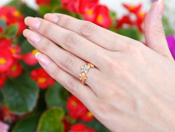 ハワイアンジュエリー ハワイアン ダイヤモンド リング 指輪 ピンクゴールドk18 18k コンビ 花 ハワイアンリング 18金 pt900 k18 pg ダイヤ_画像4